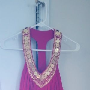 pink and gold tank top